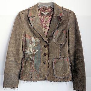 RAW 7 Distressed Boho Leather Jacket Size XS EUC